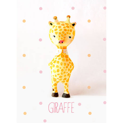Oopsy Daisy - Paper Mache - Giraffe - Girl Canvas Wall Art 10x14, Paola Zakimi