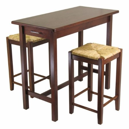 Winsome Kitchen Island Table with 2 Rush Seat Stools 2 cartons, 3-Piece ()