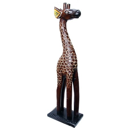 Carved Giraffe Statue - Hand-Carved Textured Wooden Giraffe Statue (Indonesia)