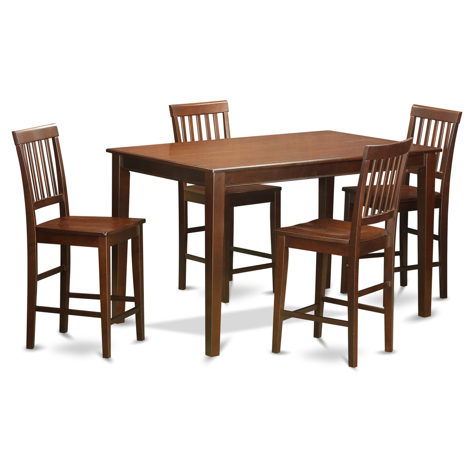East West Furniture Dudley 5 Piece Slat Back Dining Table Set