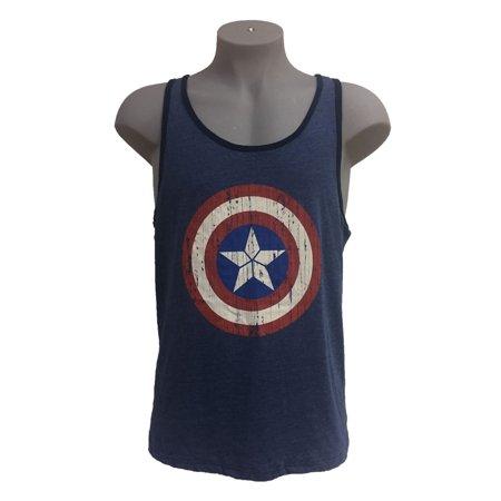 040e3b10a91f2 Marvel Avengers Men s Captain America Shield Tank Top Blue Small -  Walmart.com