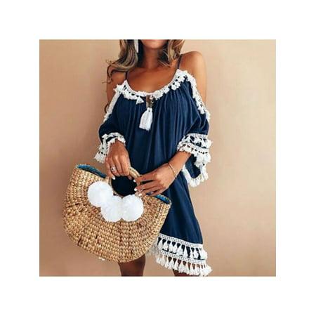 MarinaVida Women Boho Swimwear Bikini Cover Up Dress Summer Beach Sarong Dress Beachwear (Sarong Dress)