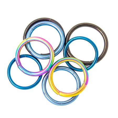 4 Pairs of Anodized Titanium Seamless Segment Rings - Eyebrow, Lip, Nose, Tragus - Eye Rings