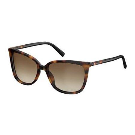 Max Mara Plastic Rectangular Sunglasses 56 0581 Havana Black HA brown gradient (Max Mara Round Sunglasses)