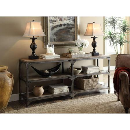 Iron Oak Veneer (Console Table, Weathered Oak & Antique Silver - Pine Veneer, Mdf, Iron Me Weathered Oak & Antique Silver )