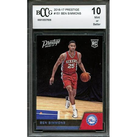 2016 17 Prestige 151 Ben Simmons Philadelphia 76ers Rookie Card Bgs Bccg 10