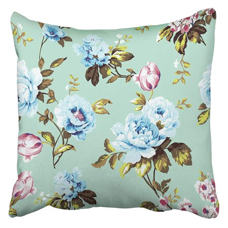 USART Shabby Chic Vintage Roses Tulips and Forget Me Nots Classic Chintz Floral for Pillowcase Cushion Cover 16x16 inch
