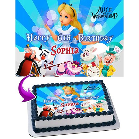 Alice In Wonderland Cake Decorations (Alice in Wonderland Cake Image Personalized Topper Edible Image Cake Topper Personalized Birthday 1/4 Sheet Decoration Party Birthday Sugar Frosting Transfer Fondant Image Edible Image for)
