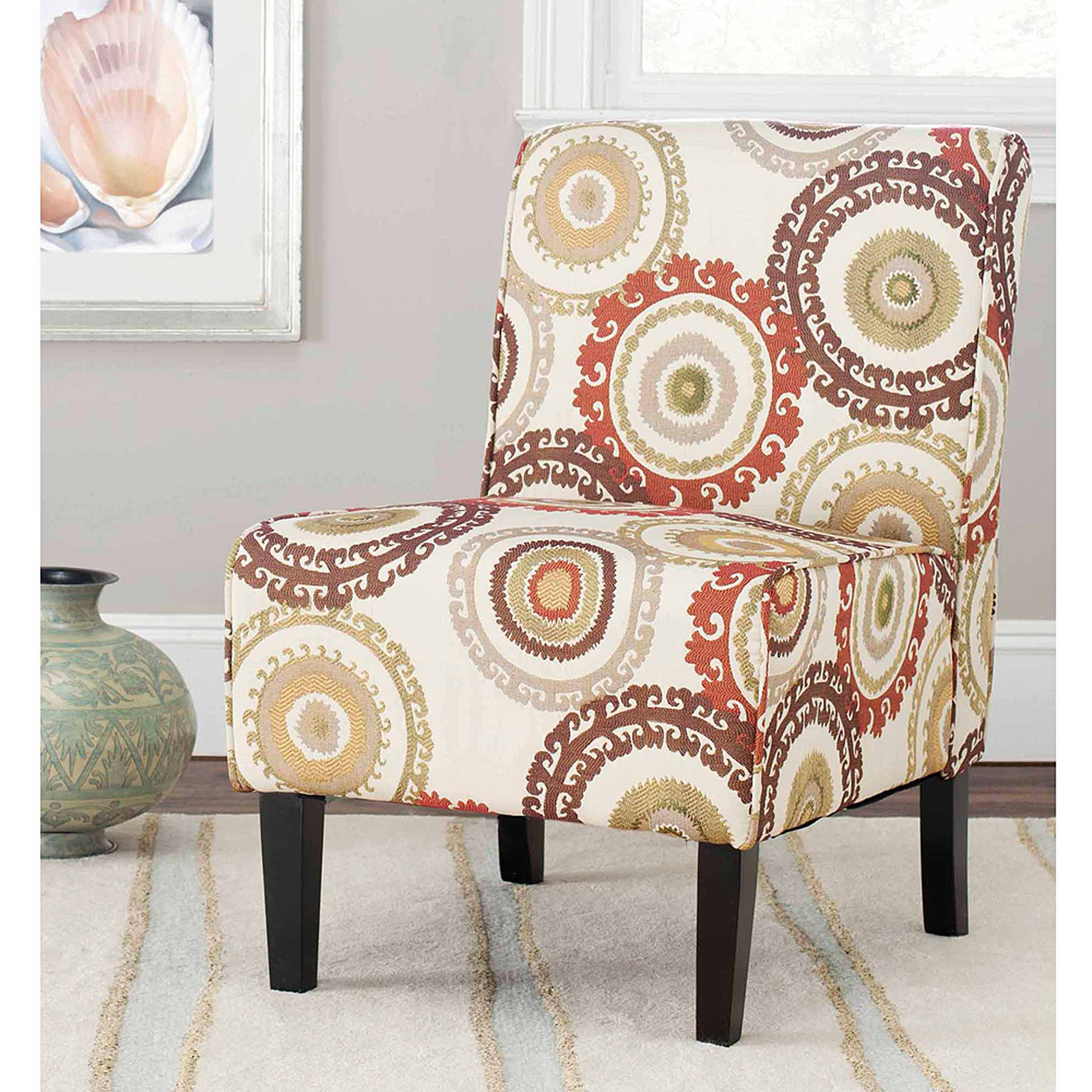 Safavieh Marka Armless Club Chair, Multi-Beige, Brown, Orange and Green