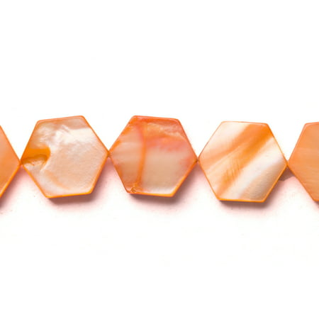 Orange Mother-Of-Pearl Flat Hexagon Shell Beads Size:12x12mm