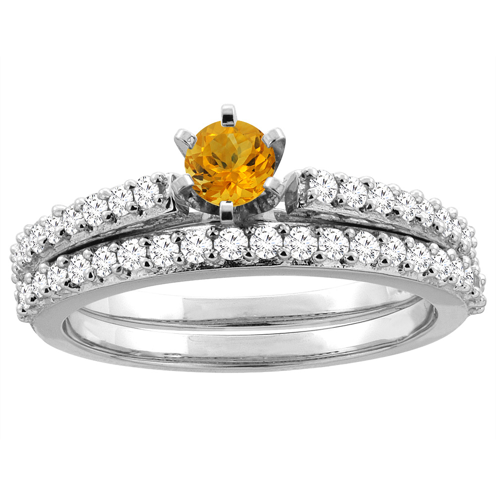 14K White Gold Natural Citrine 2-piece Bridal Ring Set Round 4mm, size 7.5 by Gabriella Gold