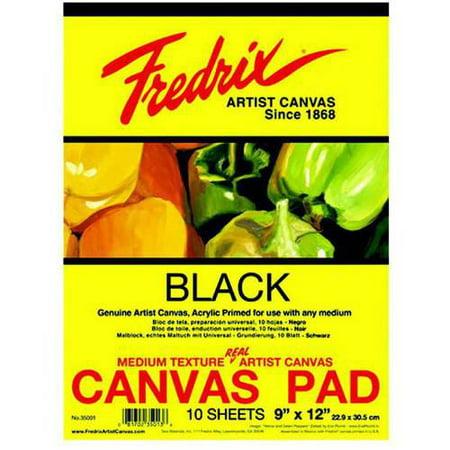 Fredrix Primed Canvas Pad, Multiple Sizes, Black, 10 Sheets