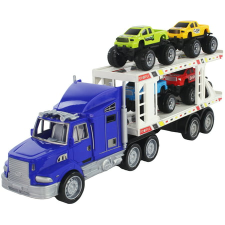 Scale 1:32 Blue Friction Powered Transport Trailer Detachable Tractor Truck with 4 Toy Vehicle Pickup Trucks for