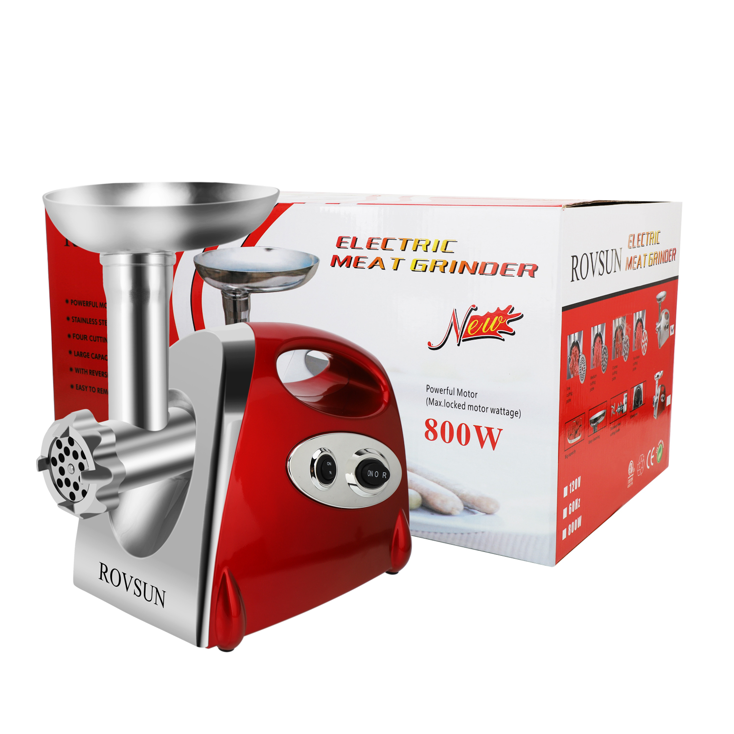 Zimtown 800W Home Use Stainless Steel Food Grinder and Sausage, Portable Electric Meat Chopper Transparent Red