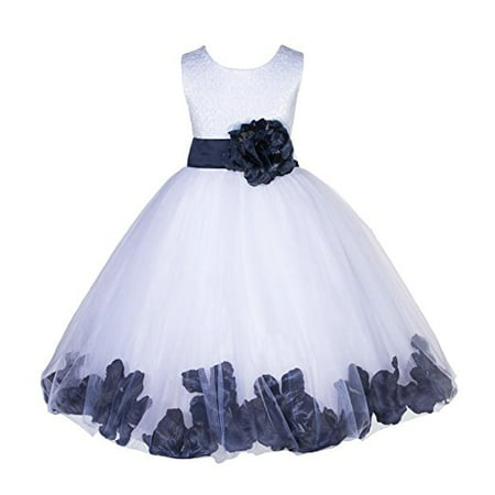 746a41142093e Ekidsbridal White Lace Top Tulle Bodice Floral Petals Flower Girl Dresses  Formal Special Occasions Dresses Wedding Pageant Recital Reception Ceremony  ...