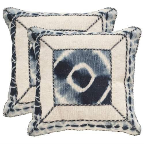 Safavieh DEC551B Square Medina Blue Dip-Dye Patch Pillow with Feather Filling fr