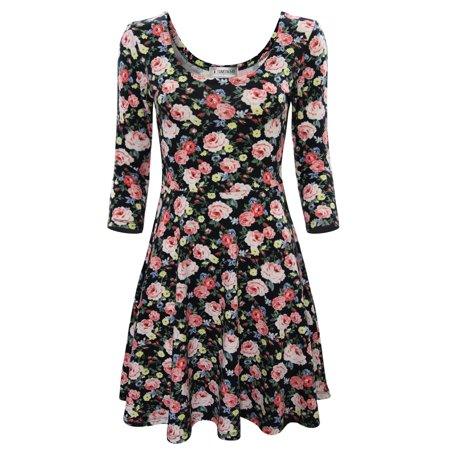 TAM WARE Women Elegant Floral Print Long Sleeve Scoop Neck Flare Dress ()