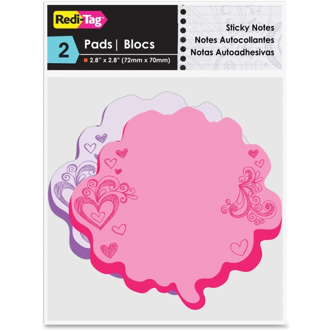 "Redi-Tag Thought Bubble Sticky Notes - 75 x Pink, 75 x Purple - 2.80"" x 2.80"" - Pink, Purple - Writable, Repositionable,"
