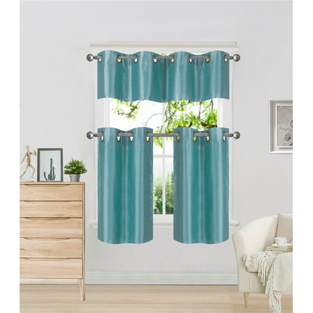K7 Teal 3 Piece Insulated Blackout Curtain Treatment With Grommets