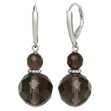 6mm and 11mm Faceted Smokey Quartz Sterling Silver Leverback Earrings Cushion Smokey Quartz Earring