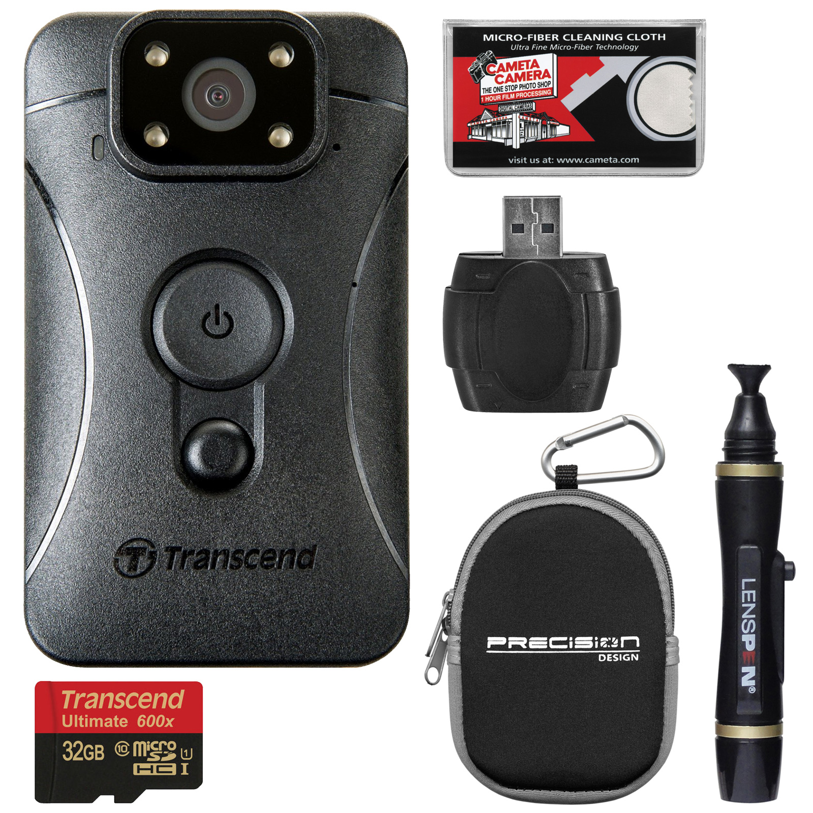 Transcend DrivePro Body 10 1080p HD Video Camera Camcorder with 32GB Card + Case + Lenspen + Kit