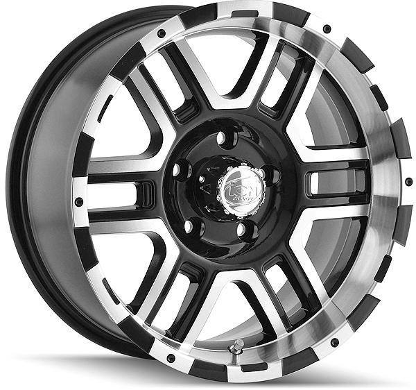 "16"" Inch Ion 179 16x8 5x135 +10mm Black/Machined Wheel Rim"