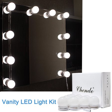 Chende Hollywood Led Vanity Mirror Light Kit For Makeup Dressing With Dimmable 10 Bulbs Gift