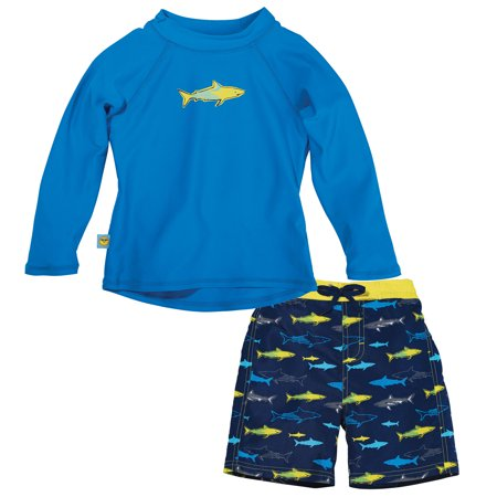 Sun Smarties Baby Boy Swim Diaper and Rashguard - Blue Shark Design - Boardshorts and Long Sleeve Swim Shirt