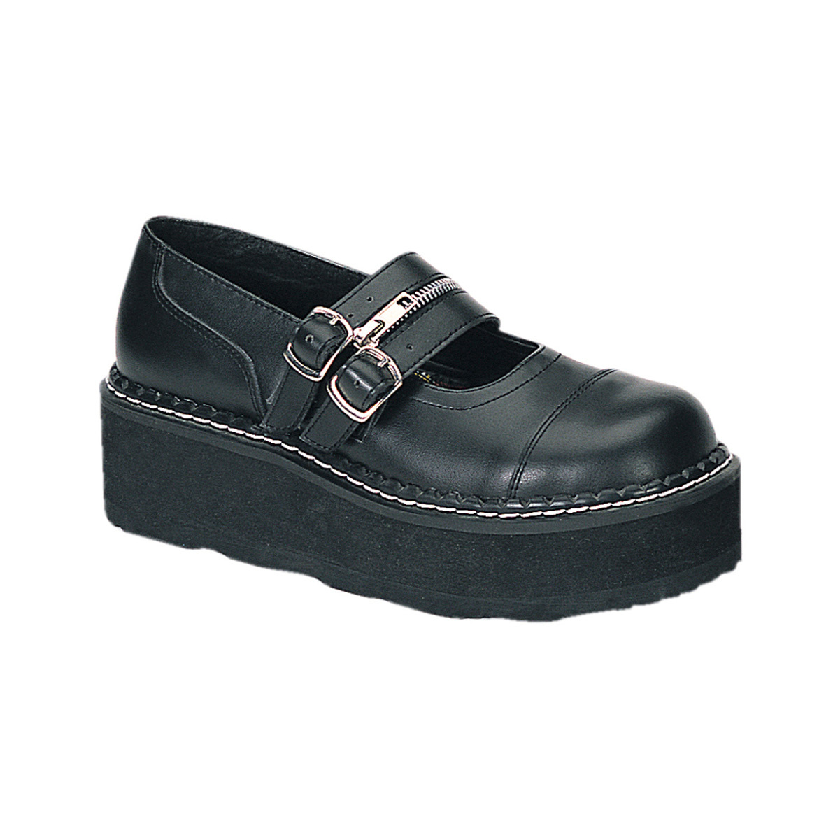 2 Inch Trendy Punk Shoe Double Strap Platform Mary Jane Shoe Black Demonia by