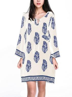 Women Floral Printed 3/4 Sleeve Retro V Neck Loose Short Mini Shirt Dress