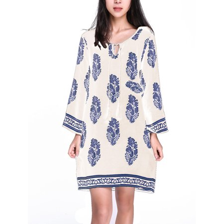 Women Floral Printed 3/4 Sleeve Retro V Neck Loose Short Mini Shirt Dress