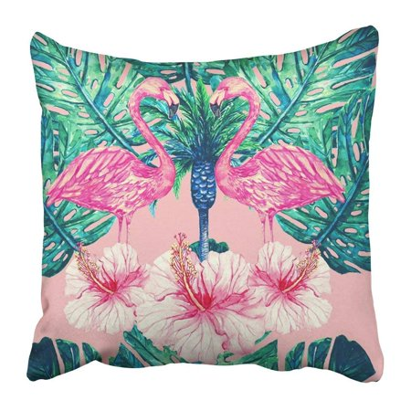 BPBOP Watercolor Pink Flamingos Tropical Flowers Jungle Leaves and Palm Tree Hibiscus Beautiful Floral Pillowcase 20x20 inch (Pink Hibiscus)