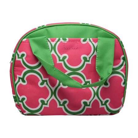 Small Reusable Bags (9 In Small Reusable Zippered Top Insulated Lunch Bag (Pink/Green Quatrefoil))
