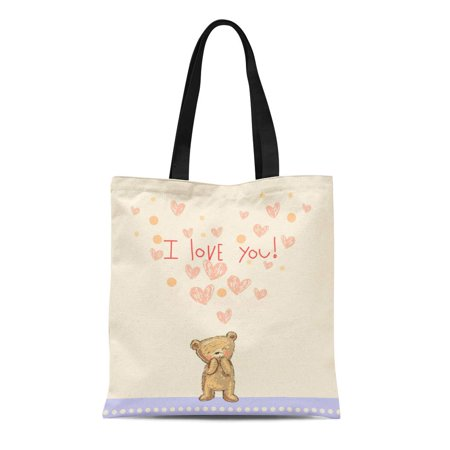 ASHLEIGH Canvas Tote Bag Brown Bear Valentine Pink Teddy Baby Cute Sweet Heart Durable Reusable Shopping Shoulder Grocery Bag