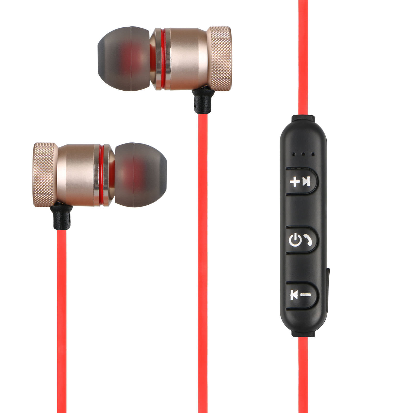 Bluetooth 4.1 Headphones Wireless Magnetic Sports Earphones Earbuds  Gym Stereo Headset(Red)