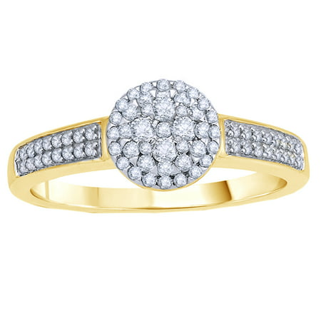 White Natural Diamond Cluster Engagement Ring in 10k Yellow Gold