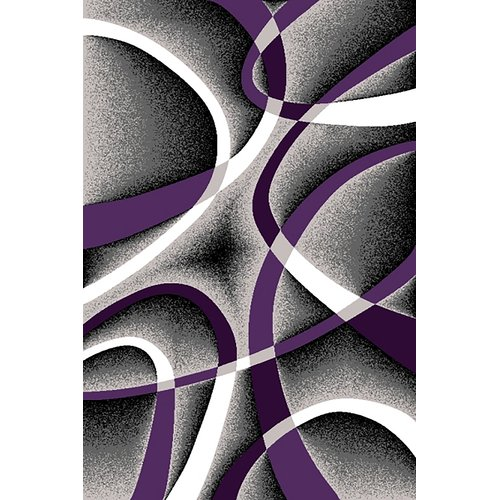 Ivy Bronx Mccampbell Power Loomed 3D PurpleGray Area Rug