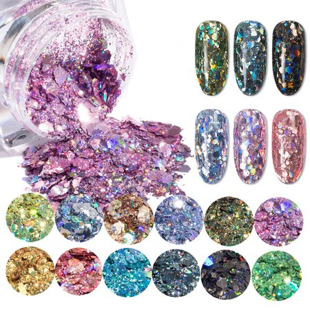 12Color Chunky Glitter Nail Flake Mixed Paillette Sequins For Face,Hair,Body