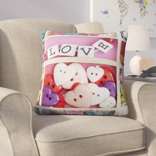 Zoomie Kids Jung Love Beads Cotton Throw Pillow