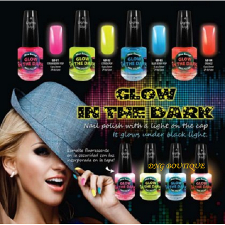 Color Run Glow In The Dark (Mia Secret Multi Color NEON Glow in the Dark Nail Polish 4 colors Yellow Orange Blue Pink + FREE Temporary Body)