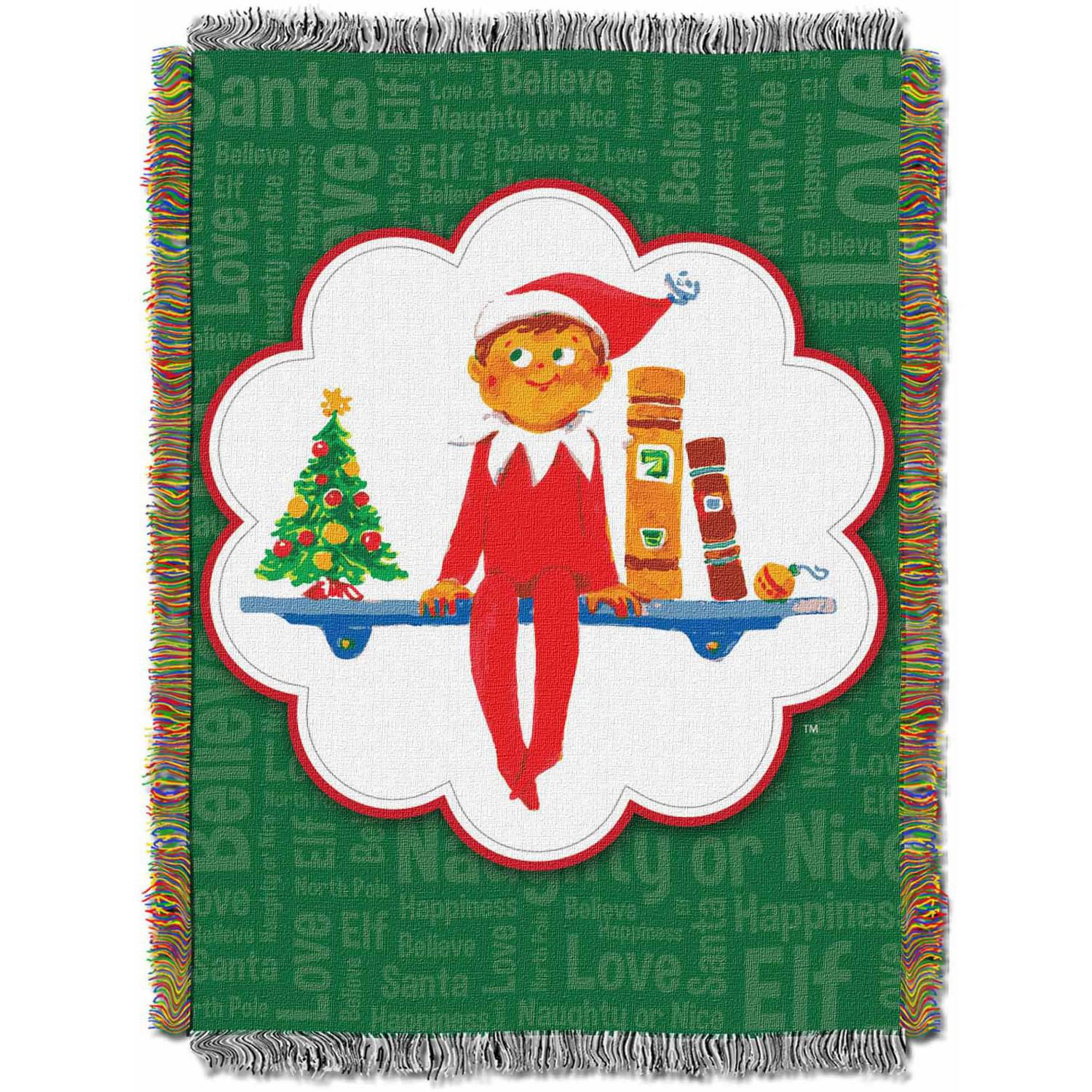 "The Elf on the Shelf ""Christmas Tradition"" 48"" x 60"" Woven Tapestry Throw"