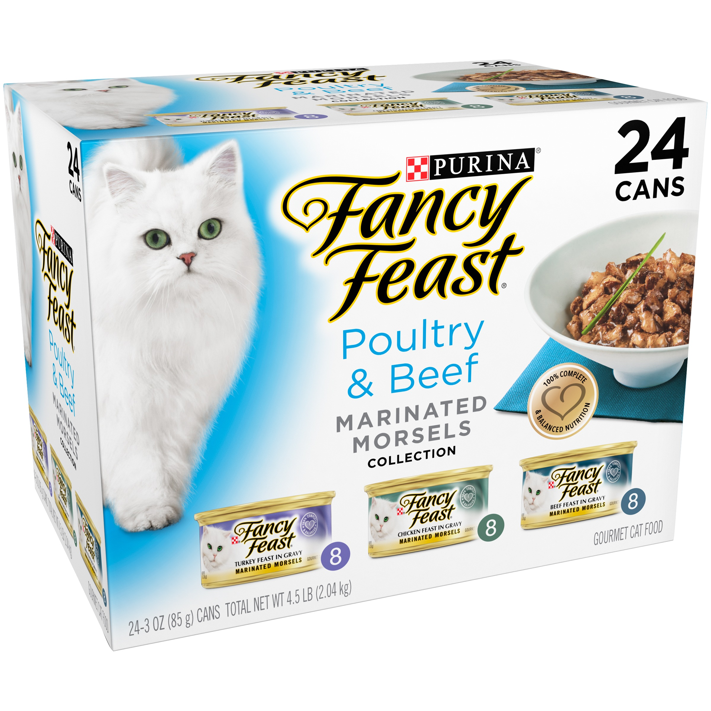 Purina Fancy Feast Marinated Morsels Poultry & Beef Collection Cat Food 24-3 oz. Cans