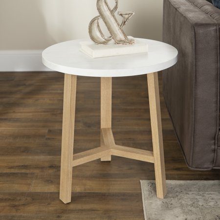 Modern Oak End Table (Manor Park Mid-Century Modern Round End Table - White Marble/Light Oak)