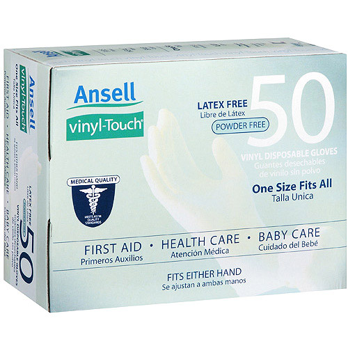 Ansell Vinyl Touch Powder Free Latex Free Disposable Exam Grade Gloves, 50ct