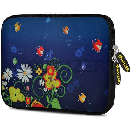 - Universal 10.5 Inch Soft Neoprene Designer Sleeve Case Pouch for 10.5 Inch Tablet, eBook, Netbook - Blue Spring Fish