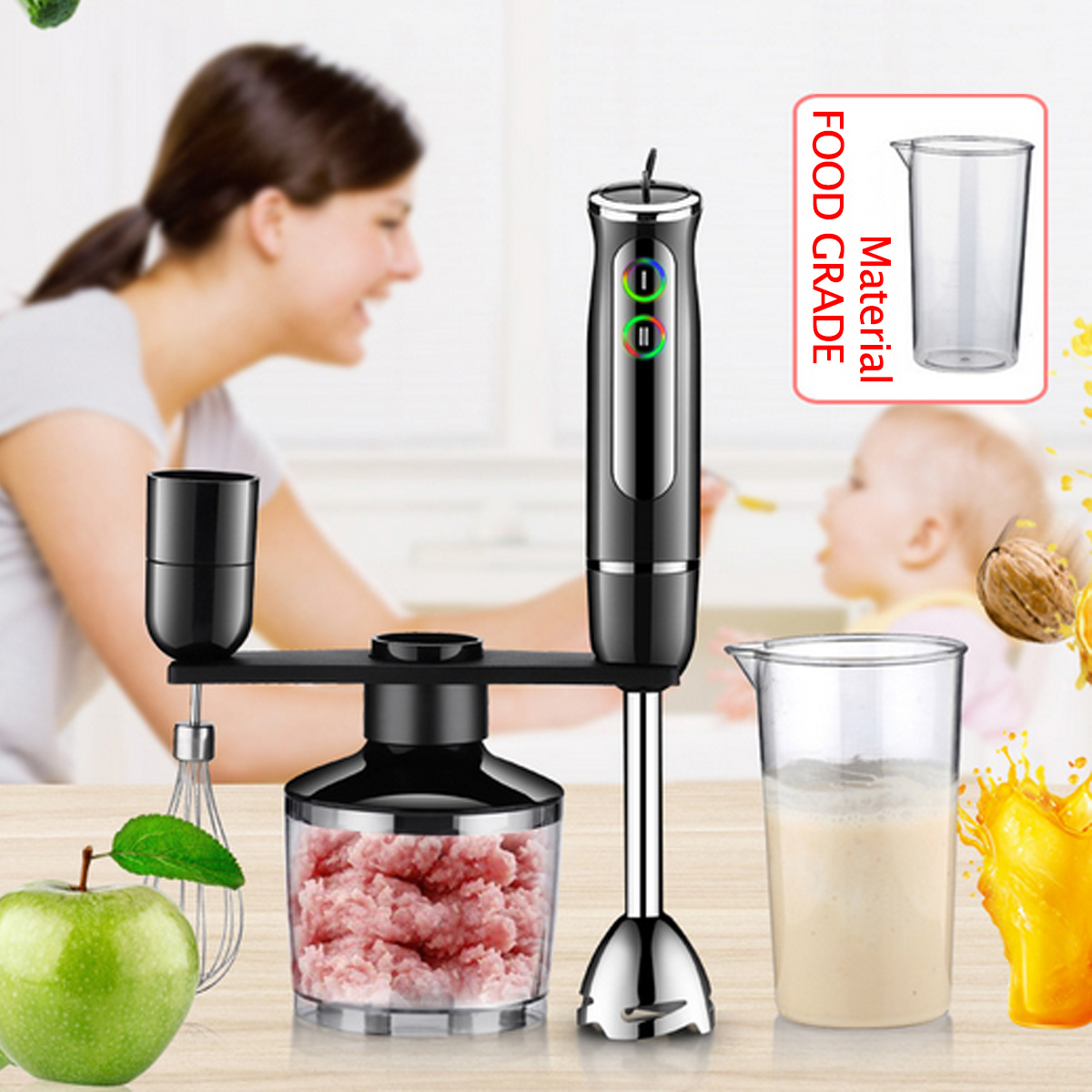 4Pcs 600W Electric Food Hand Blender Mixer Whisk Chopper Jug Cup Processor Black by