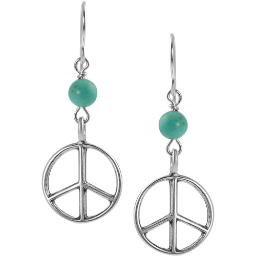 Brinley Co. Genuine Turquoise Sterling Silver Peace Sign Drop Earrings