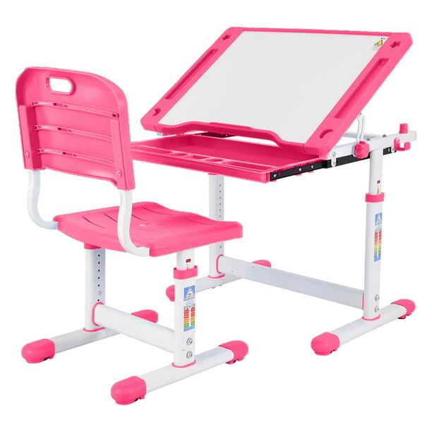 Kids Multifunctional Desk And Chair Set, Pink Metal School Desk