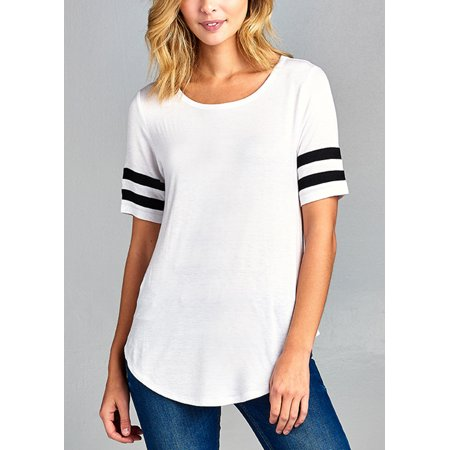 Womens Juniors Casual Basic Must Have Stretchy Rayon Spandex Short Sleeve Scoop Neck White Tee - Custom Rayon Camp Shirt