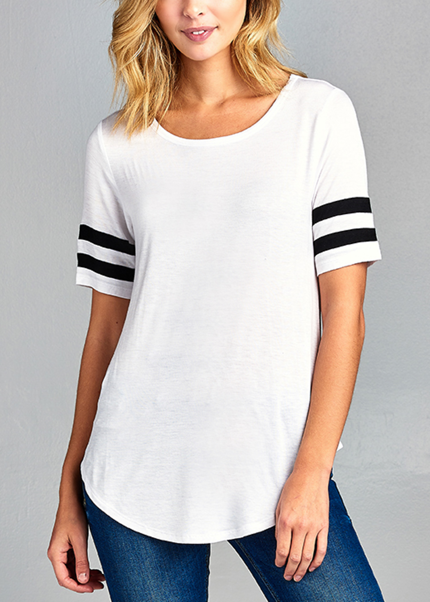 Womens Juniors Casual Basic Must Have Stretchy Rayon Spandex Short Sleeve Scoop Neck White Tee 40126V